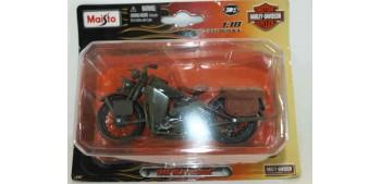 moto miniatura Harley Davidson 1942 WLA Flathead escala 1/18