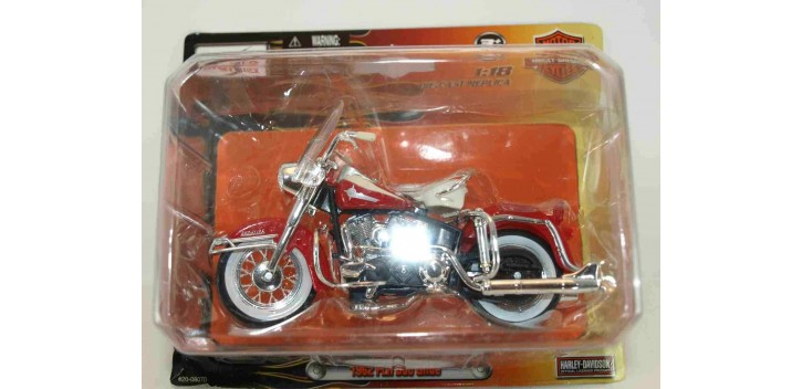 moto miniatura Harley Davidson 1962 FLH Duo Glide escala 1/18