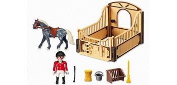 Playmobil - Trakehner con Establo Marrón y Amarillo - caballo -