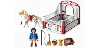 Playmobil - Knabstrupper con Establo Rojo y Gris - 5107