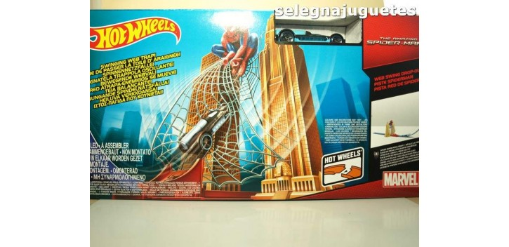 Hotwheels Spiderman La red atrapa enemigos se mueve