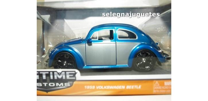 coche miniatura Volkswagen Beetle Bicolor azul-plata escala