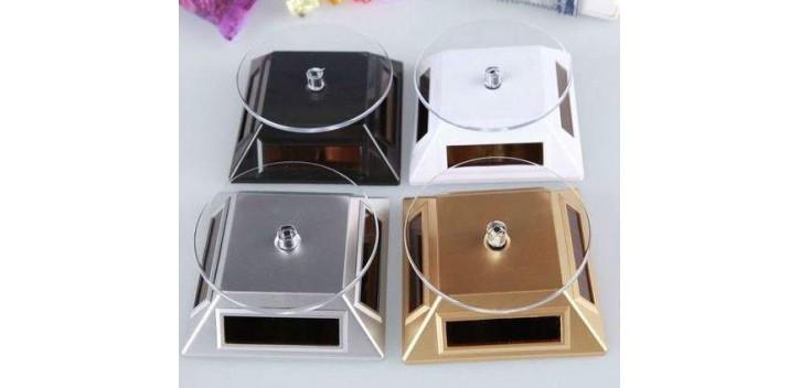 Peana Expositora giratoria solar dorada para artículos de