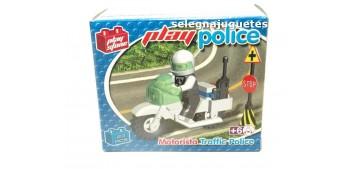 Motorista de policía de tráfico  juego de Bloques 23 Piezas Play Stone