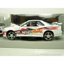 <p>MARCA:<strong>MOTOR MAX</strong></p> <p>ESCALA - SCALE - ECHELLE - MABSTAB:<strong>1:24 - 1/24</strong></p> <p>MODELO:<strong>NISSAN SKYLING GT-R TUNNING</strong></p>