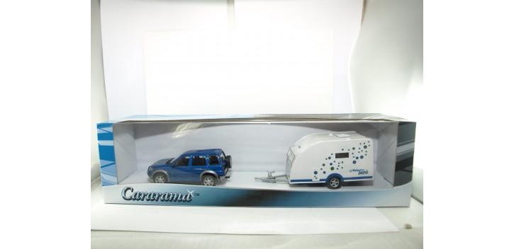 Land Rover + remolque caravana Polar 400 basic escala 1/43 cararama Coche metal miniatura