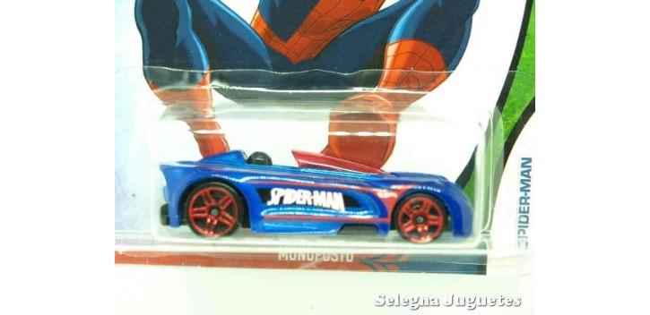 coche miniatura Monoposto Spiderman escala 1/64 Hotwheels coche