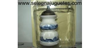 Molinillo café de porcelana con decoración azul